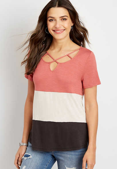 24/7 colorblock strappy neck tee
