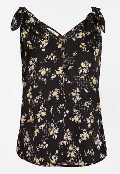 Womens Ladies Printed Floral Camisole Strappy Flared Swing Vest Top Plus Sizes