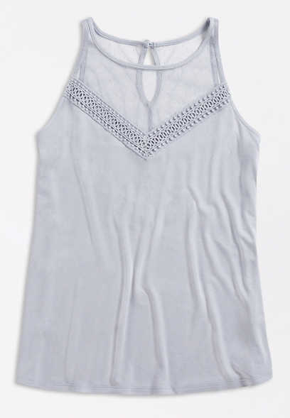 Solid Mesh Dot Crochet Trim Halter Neck Tank Top