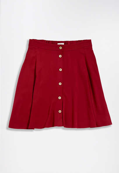 Red Button Front Mini Skirt