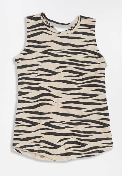 24/7 Zebra Print Strappy Back Tank Top