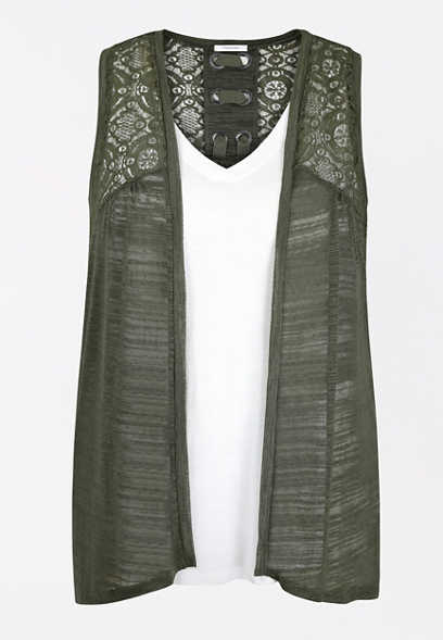 Plus Size Olive Grommet Lace Up Back Vest