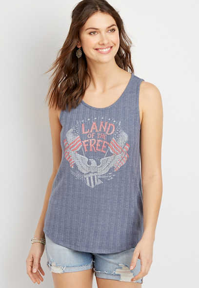 Maurices Land Of The Free Graphic Tank Top