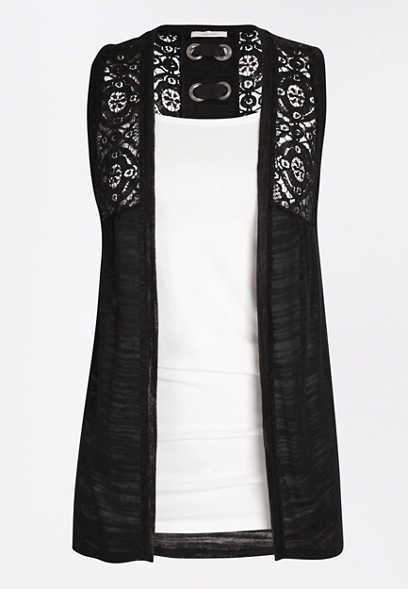 Black Grommet Lace Up Back Vest