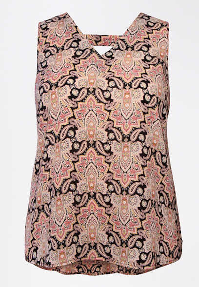 Plus Size Paisley Print Bar Back Tank Top