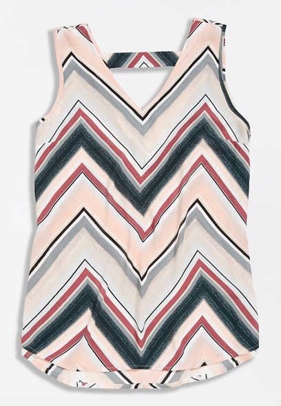 Multicolor Chevron Bar Back Tank Top
