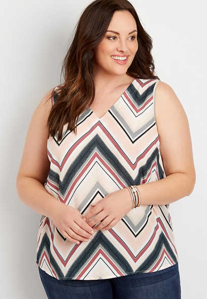 Plus Size Multicolor Chevron Bar Back Tank Top