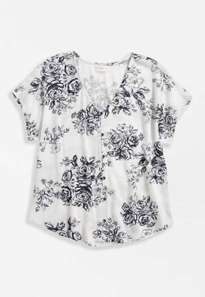 White & Blue Floral Print V Neck Button Front Blouse