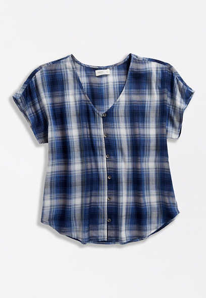 Blue Plaid V Neck Button Front Blouse