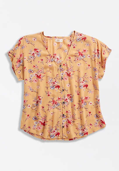 Orange & Pink Floral Button Front Blouse