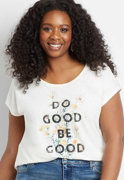 Plus Size White Do Good Be Good Graphic Tee