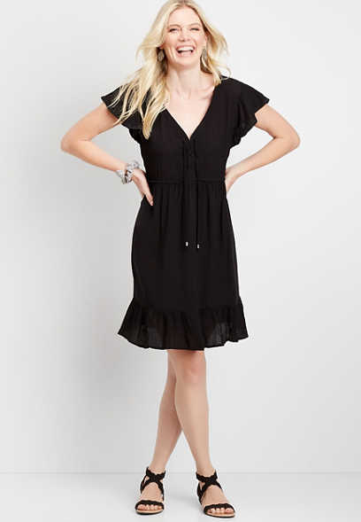 Black Lace-Up Babydoll Dress