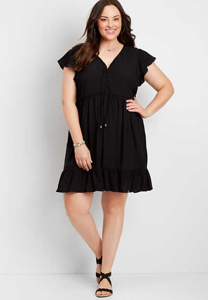 Plus Size Black Lace-Up Babydoll Dress