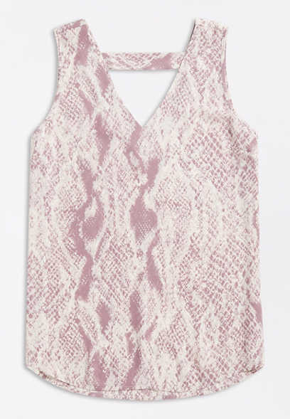 Snakeskin Print Bar Back Tank Top