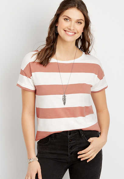 24/7 Stripe Drop Shoulder Classic Tee