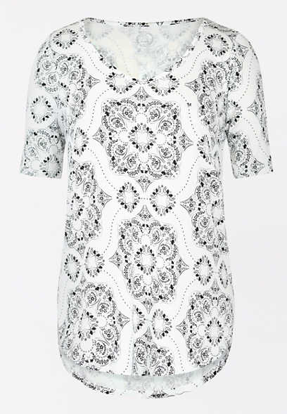 24/7 Flawless Medallion Print Tunic Tee