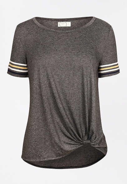 24/7 Striped Sleeve Knot Hem Tee