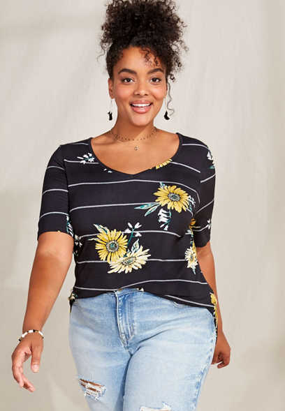 Plus Size 24/7 Flawless Sunflower Stripe Tee