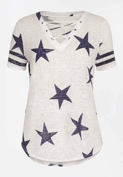 24/7 Star Print Lace Up Football Tee