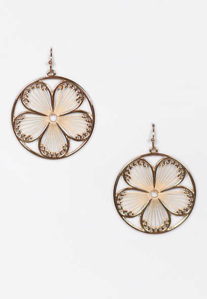 Gold Circle Flower String Drop Earrings