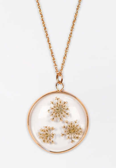 Clear Blossom Pendant Necklace