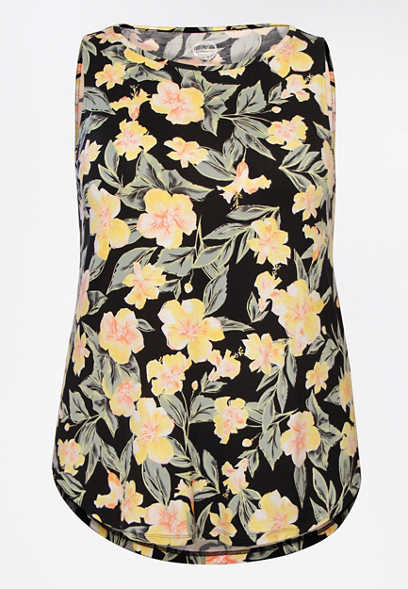 Plus Size 24/7 Floral High Neck Tank Top