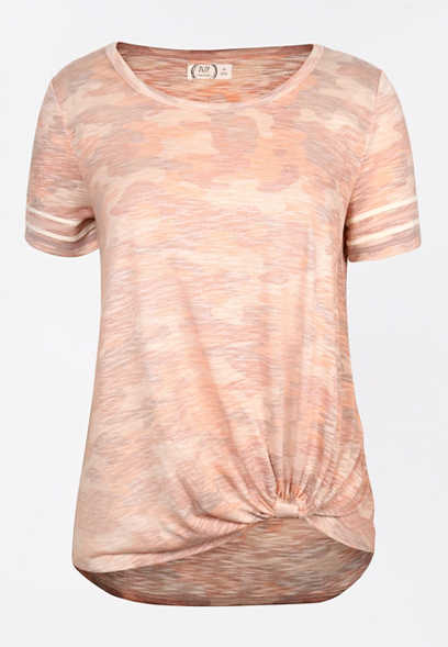 24/7 Pink Camo Striped Sleeve Knot Hem Tee
