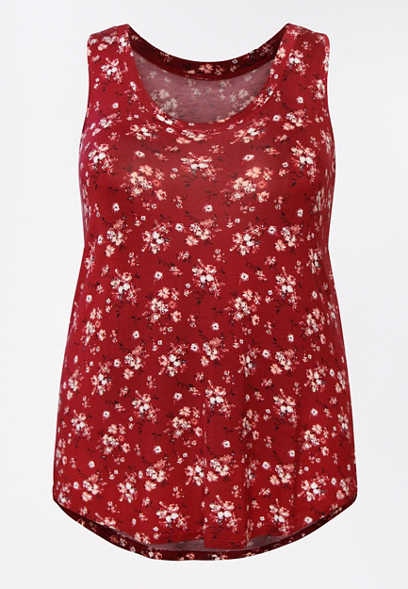 Plus Size 24/7 Red Ditsy Floral Scoop Neck Tank Top