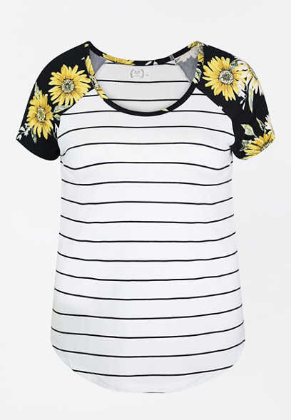 Plus Size 24/7 Floral Stripe Baseball Tee