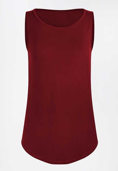 24/7 Red High Neck Tank Top