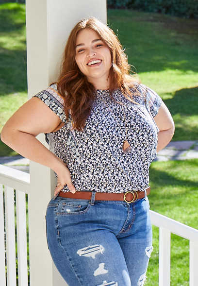 Plus Size Mixed Floral Print Flutter Sleeve Top