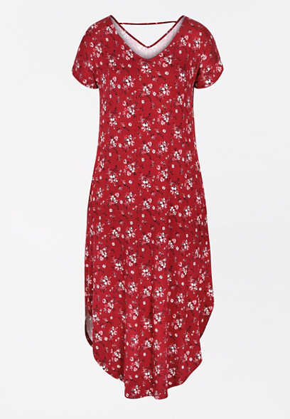 24/7 Red Floral Circle Hem Maxi Dress