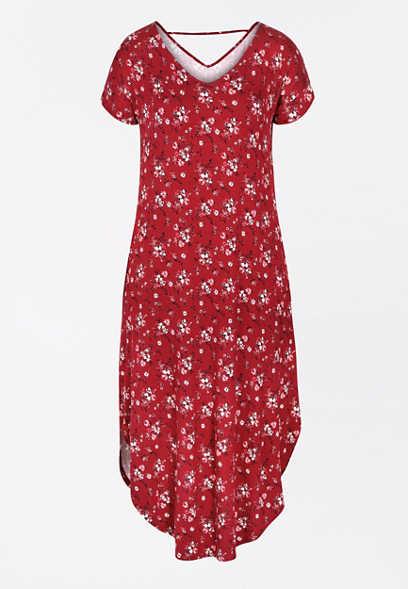 Maurices 24/7 Red Floral Circle Hem Maxi Dress