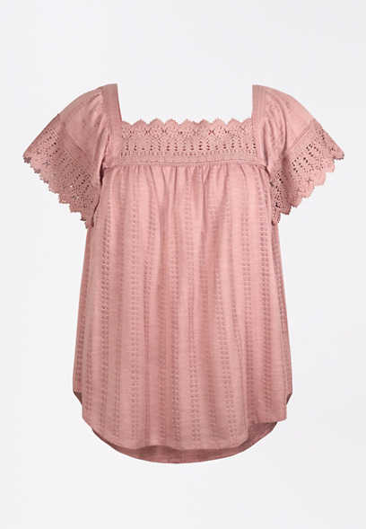 Pink Crochet Trim Square Neck Top