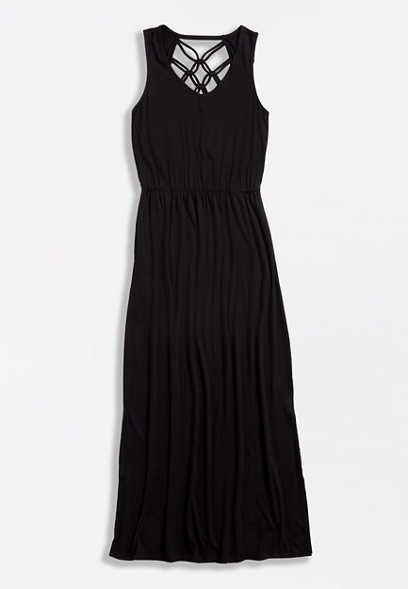 Black Strappy Back Maxi Dress