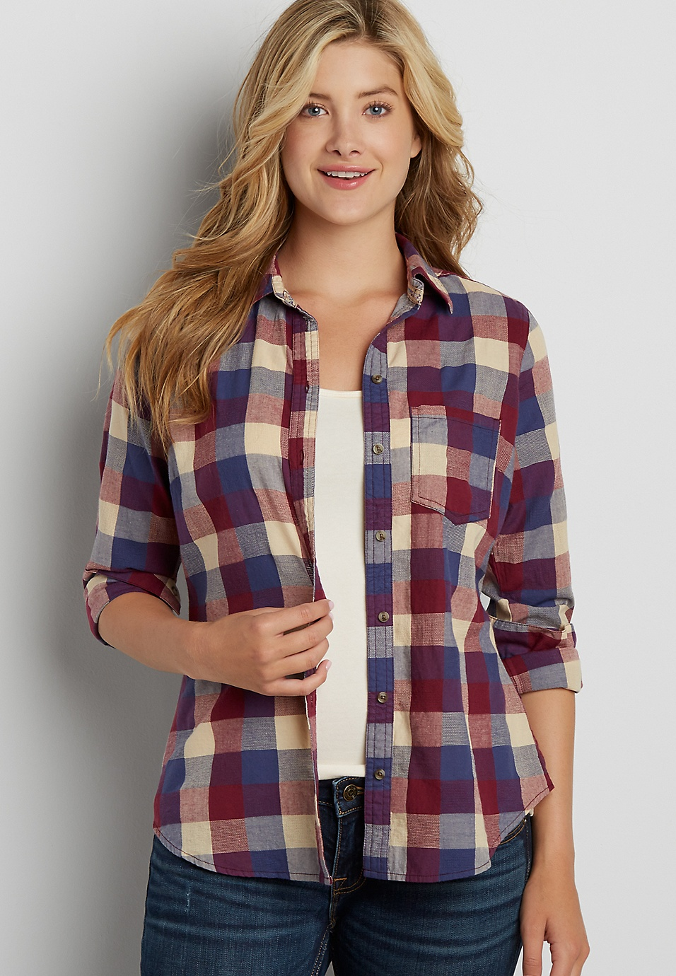 Discount Clearance Plus Size - Plaid Button Down Shirt Maurices Buy Cheap Fast Delivery Footlocker Pictures Sale Online QsXG5Q