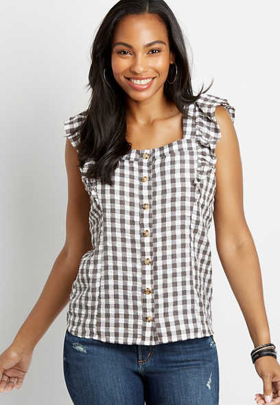Gingham Square Neck Ruffle Sleeve Tank Top