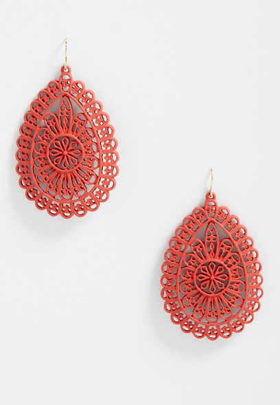 Red Cut Out Drop Earrings