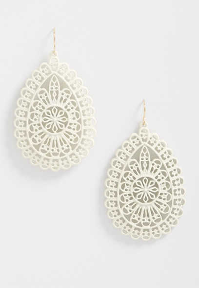 Ivory Cut Out Drop Earrings