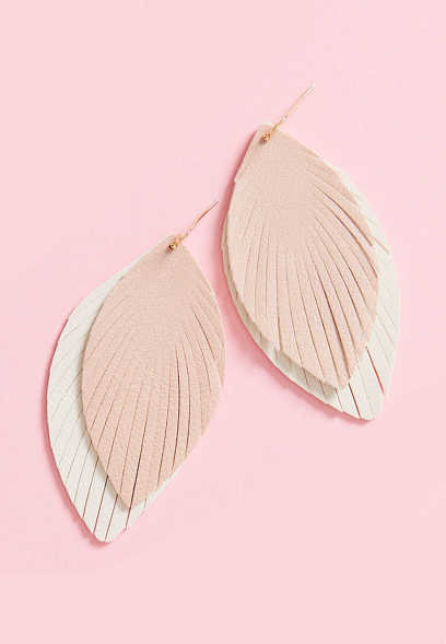 Double Layer Feather Drop Earrings