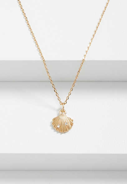 Dainty Clam Shell Pendant Necklace