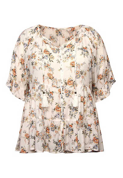 Plus Size White Floral Tiered Peasant Top