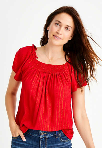 Red Smocked Neck Top