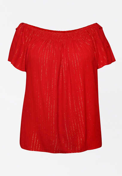 Plus Size Red Smocked Neck Top