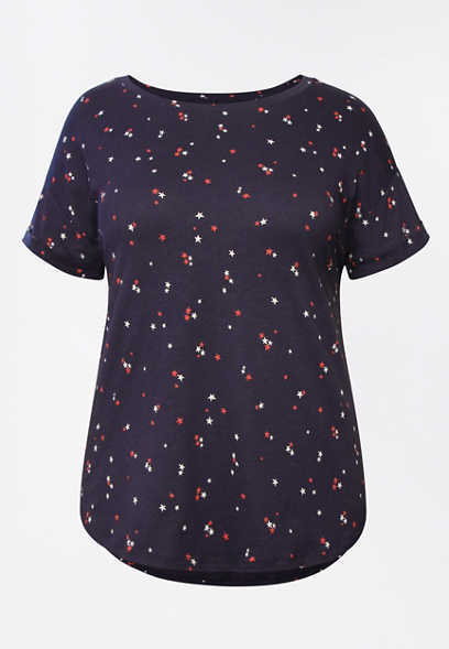 Plus Size 24/7 Star Print Drop Shoulder Tee