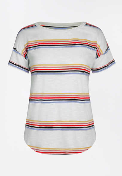 24/7 Stripe Print Drop Shoulder Tee