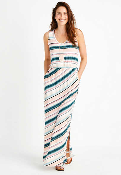 Stripe Strappy Back Maxi Dress