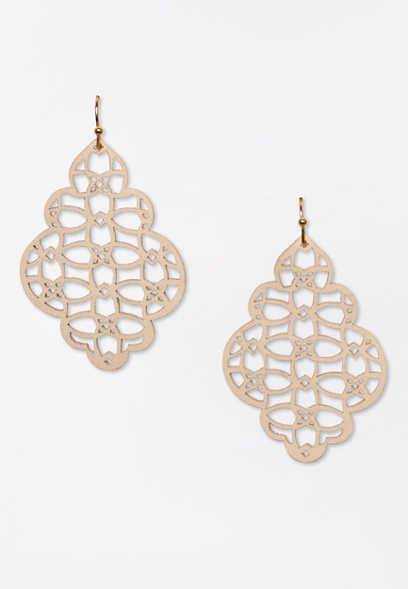 White Cut Out Faux Leather Drop Earrings