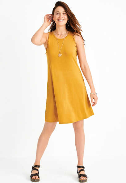 24/7 Solid Twisted Arm Shift Dress