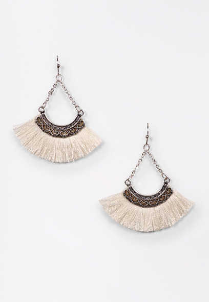 Ivory Fringe Fan Earrings